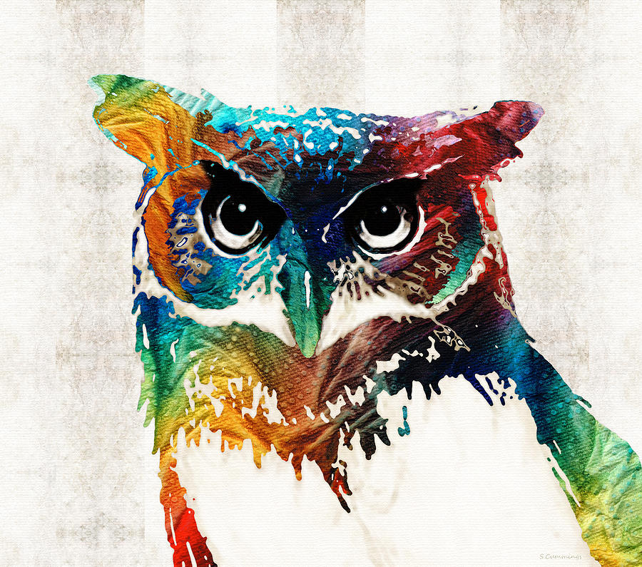 Colorful owl art colorful owl art wise guy