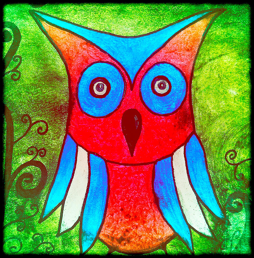 Colorful owl kids art painting by laura carter for Children s mural artist