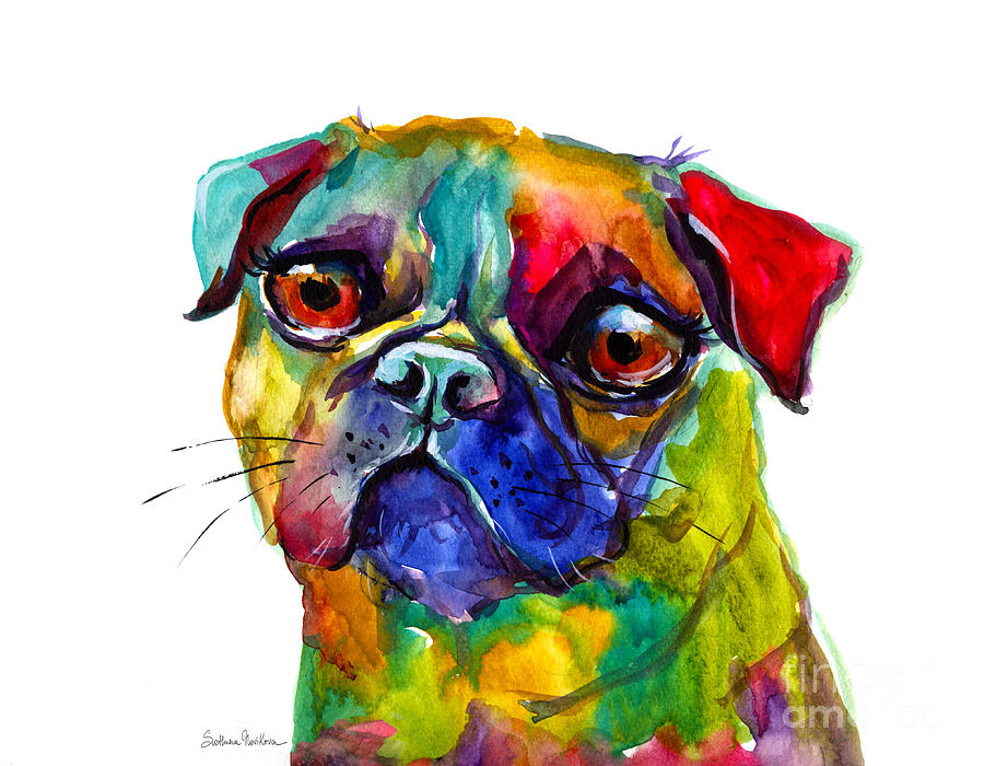 Colorful pug dog painting painting by svetlana novikova for Dog painting artist