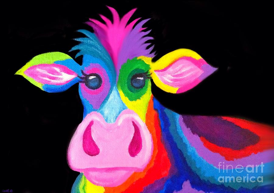 Cow Painting - Colorful Rainbow Cow by Nick Gustafson