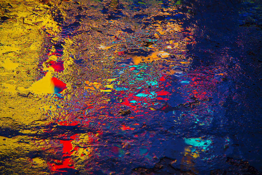 Pavement Photograph - Colorful Reflections by Garry Gay