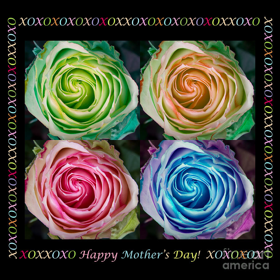 Colorful Rose Spirals Happy Mothers Day Hugs And Kissed Photograph  - Colorful Rose Spirals Happy Mothers Day Hugs And Kissed Fine Art Print
