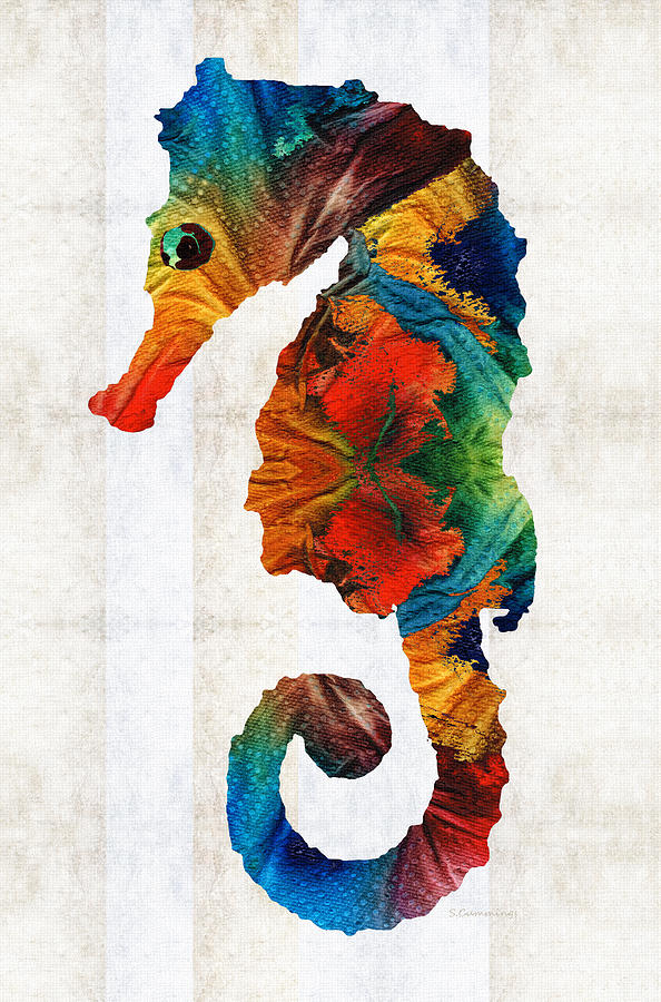 Seahorse painting colorful seahorse art by sharon cummings by sharon