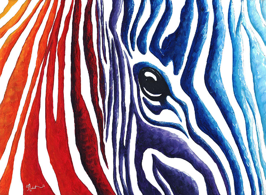 Colorful stripes original zebra painting by madart for Abstract animal paintings