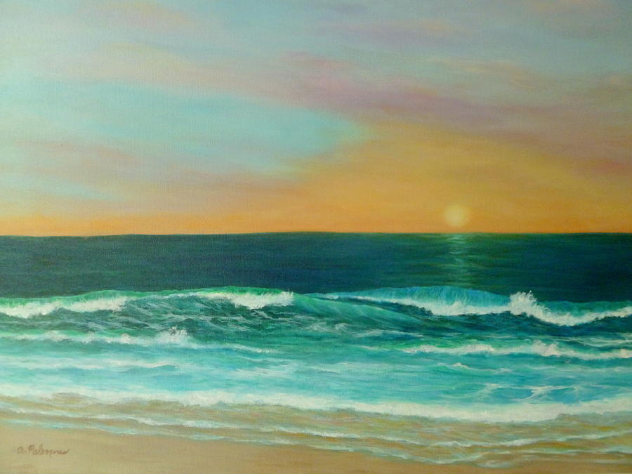 Colorful Sunset Beach Paintings Painting