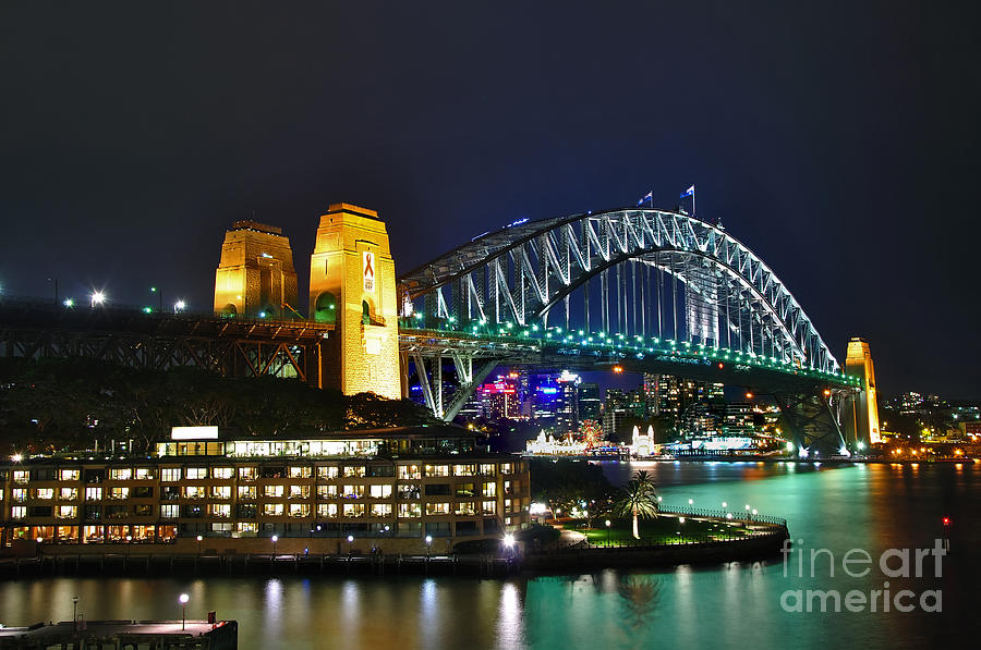 Photography Photograph - Colorful Sydney Harbour Bridge By Night by Kaye Menner