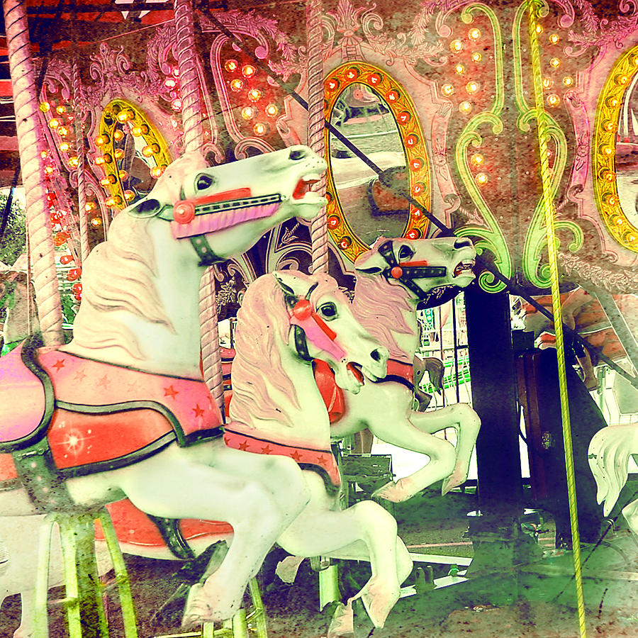 Colorful Vintage Carousel Photo Photograph by Elle Moss