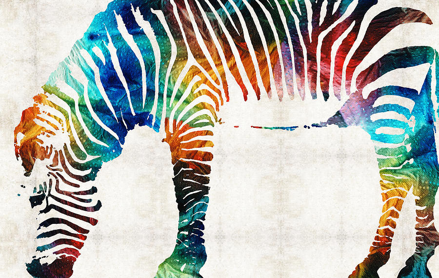 Zebras Paintings Colorful Zebra Art By ...