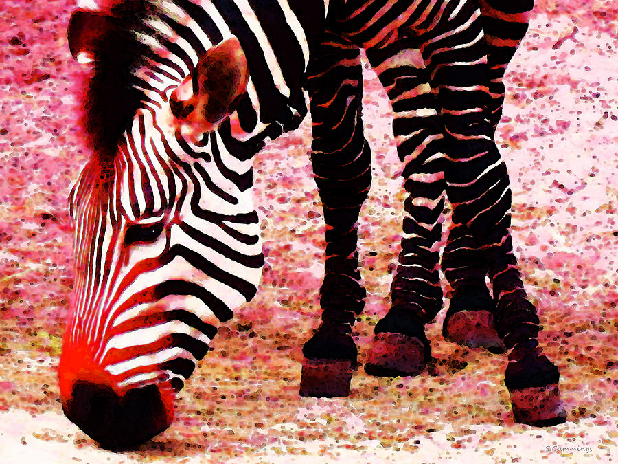 Colorful Zebra - Buy Black And White Stripes Art Painting  - Colorful Zebra - Buy Black And White Stripes Art Fine Art Print