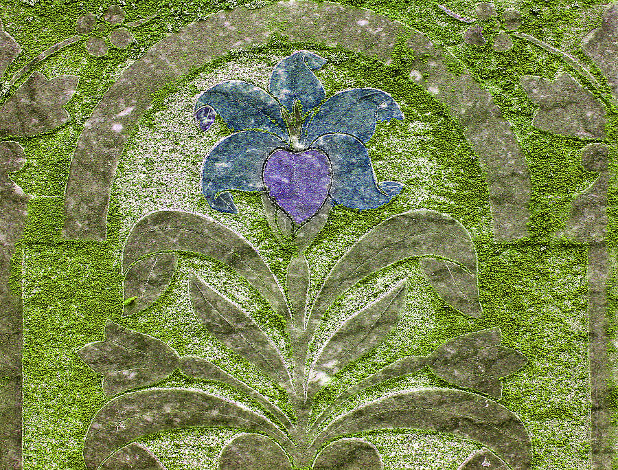 Colorized Moss Covered Gravestone  Photograph