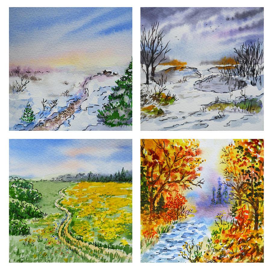 Colors Of Russia Four Seasons Painting By Irina Sztukowski