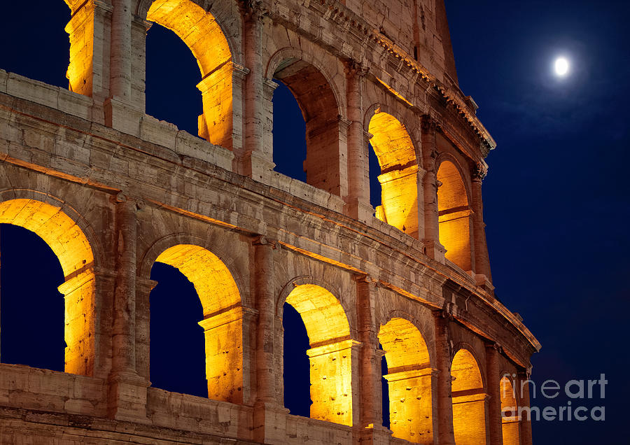 Colosseum And Moon Photograph  - Colosseum And Moon Fine Art Print