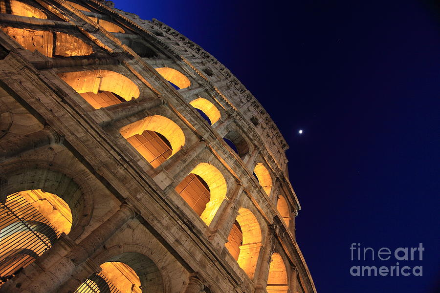 Colosseum At Night Photograph