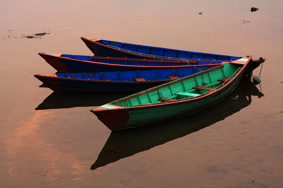 Colourful Fishing Boats - Nepal Photograph