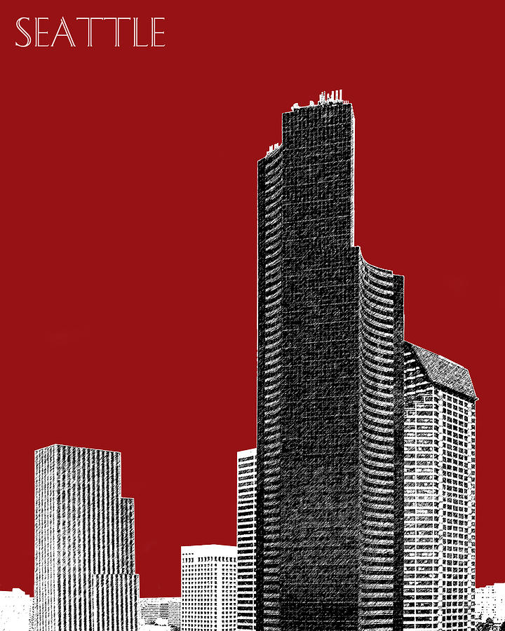 Columbia Tower Digital Art  - Columbia Tower Fine Art Print