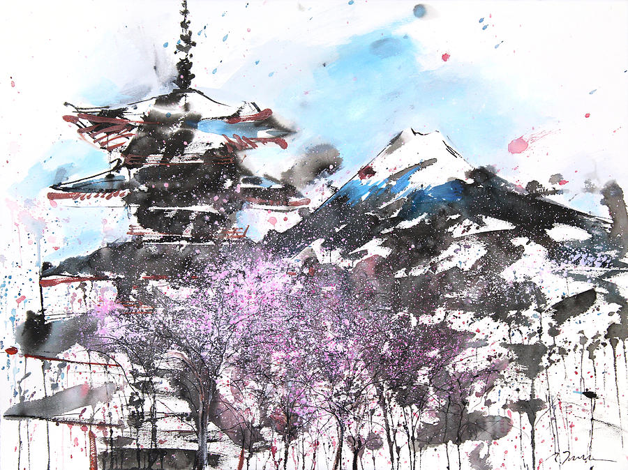 Woods Painting - Combination No.32 Spring Time Mt.fuji And Pagoda by Sumiyo Toribe