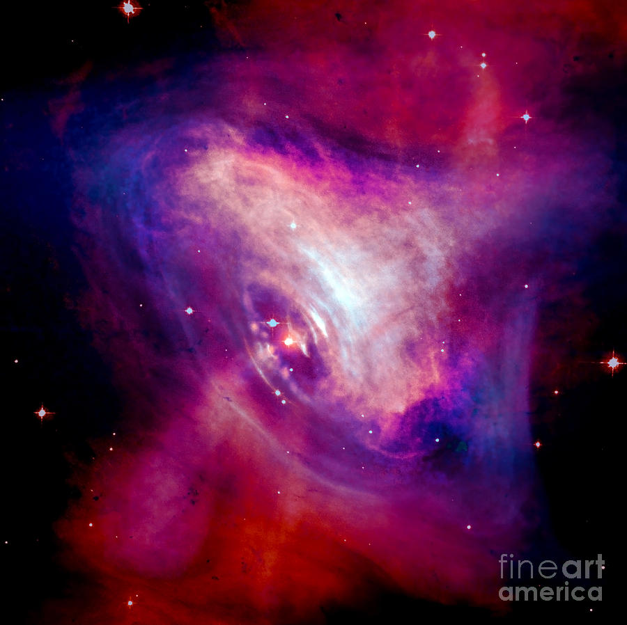 Combined X-ray And Optical Images Of The Crab Nebula Photograph  - Combined X-ray And Optical Images Of The Crab Nebula Fine Art Print