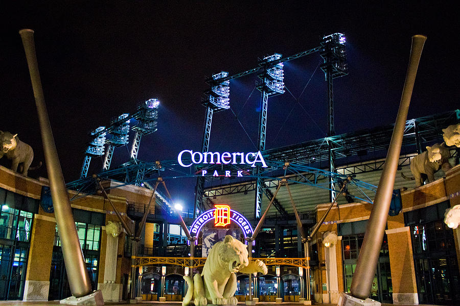 Comerica Park At Night  Photograph  - Comerica Park At Night  Fine Art Print