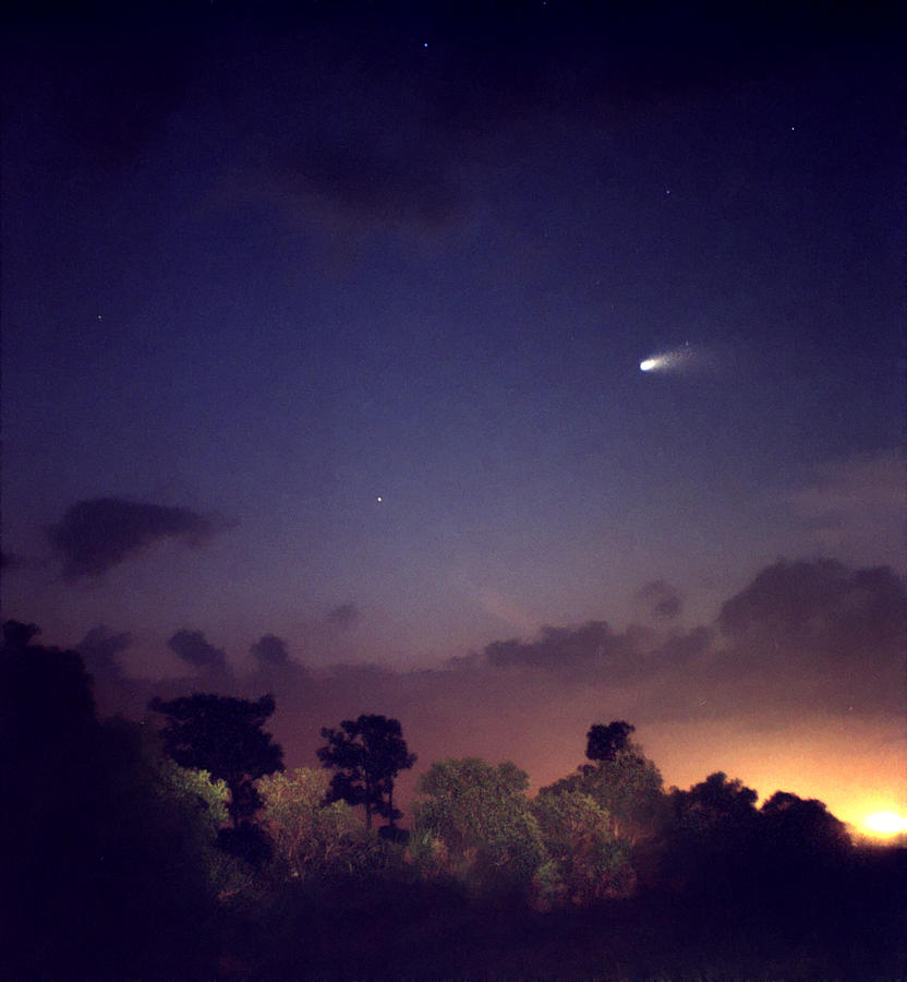 Comet Hale-bopp. Lake Cypress. Photograph
