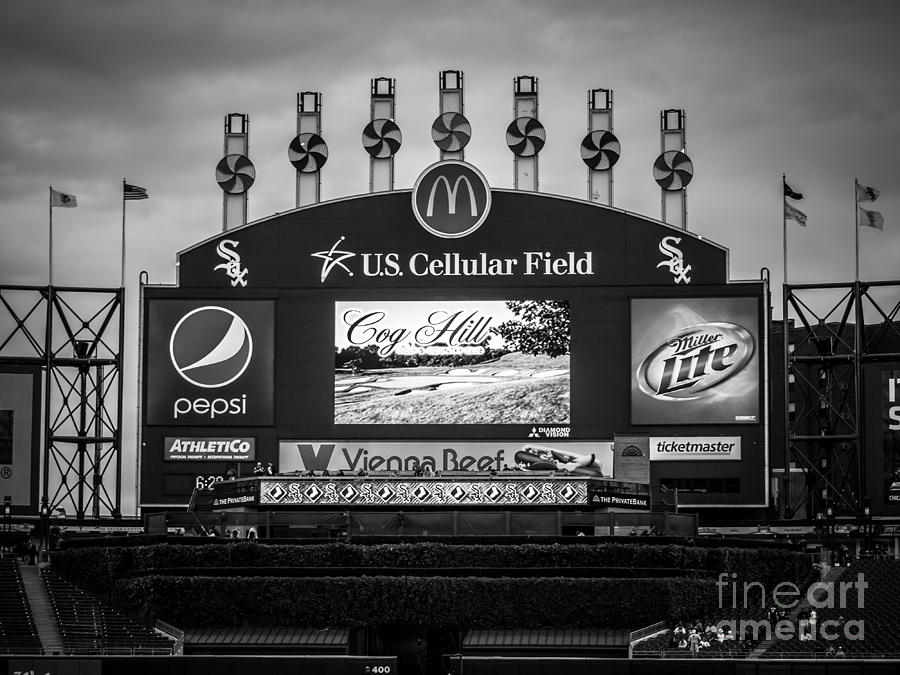 Comiskey Park U.s. Cellular Field Scoreboard In Chicago Photograph