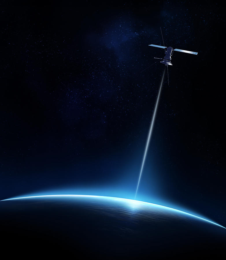 Communication Between Satellite And Earth Photograph