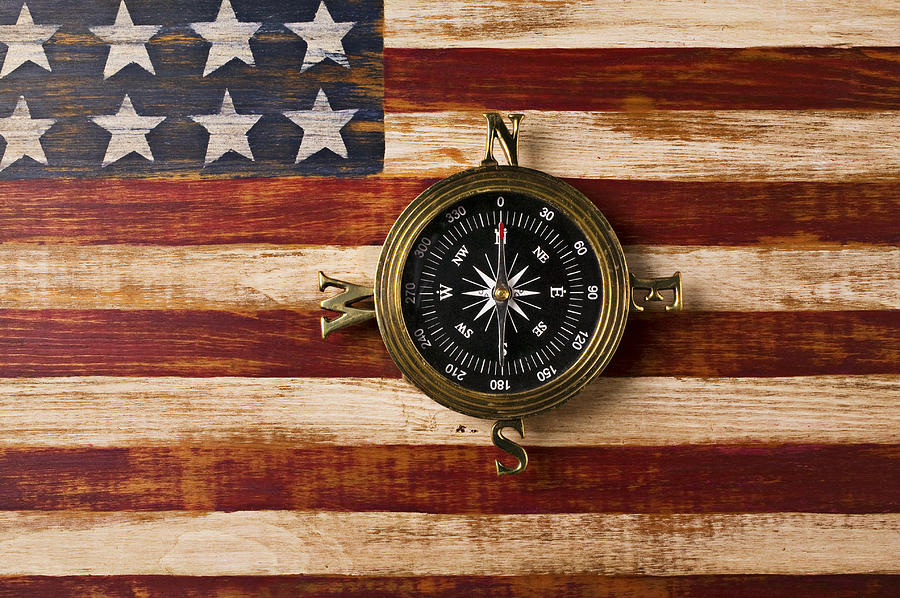 Compass On Wooden Folk Art Flag Photograph