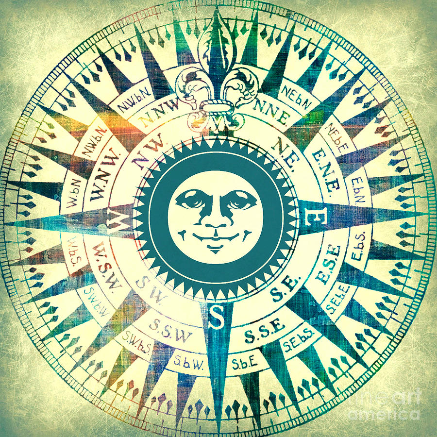 Compass Sun Mixed Media Mixed Media  - Compass Sun Mixed Media Fine Art Print