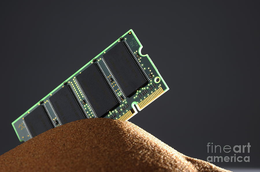 Computer Memory Chip On Red Sand Photograph  - Computer Memory Chip On Red Sand Fine Art Print