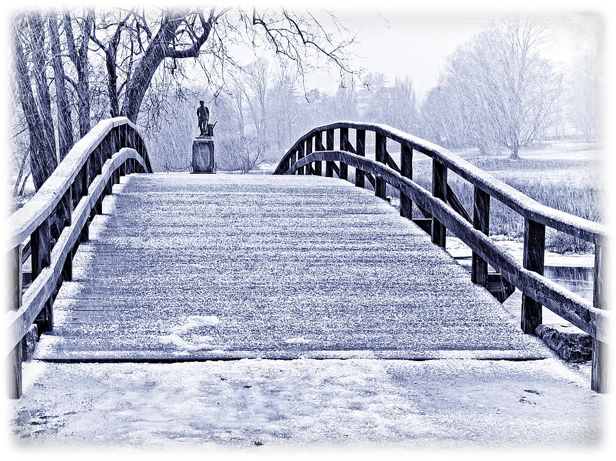 Concord Bridge In Winter Photograph  - Concord Bridge In Winter Fine Art Print
