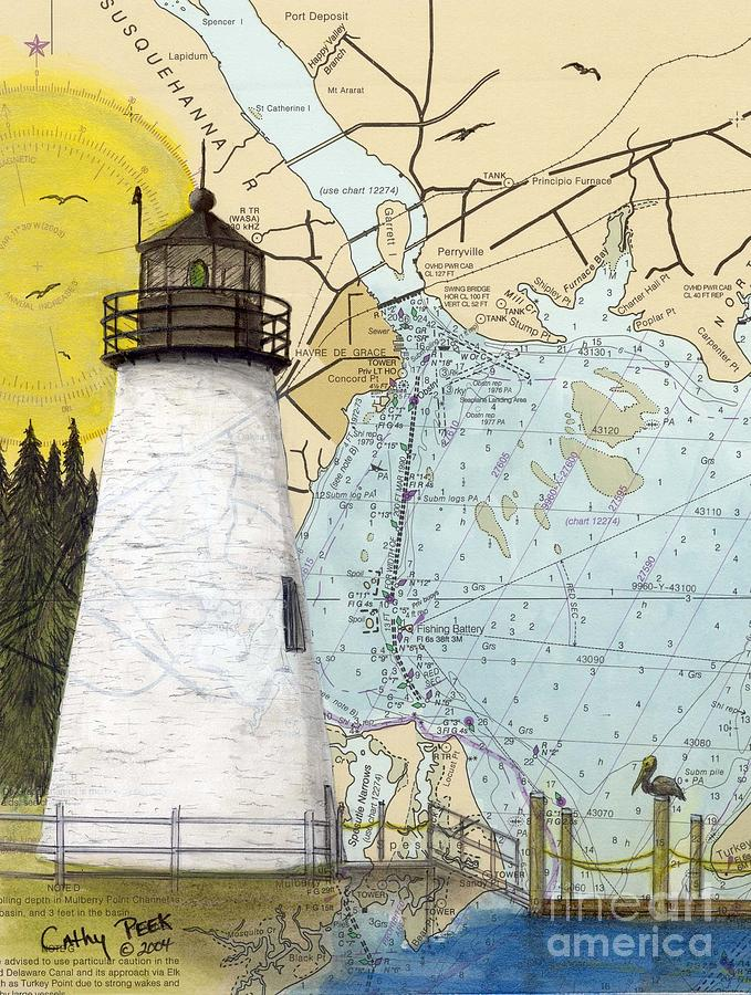 Concord Pt Lighthouse Md Nautical Chart Map Art Cathy Peek Painting