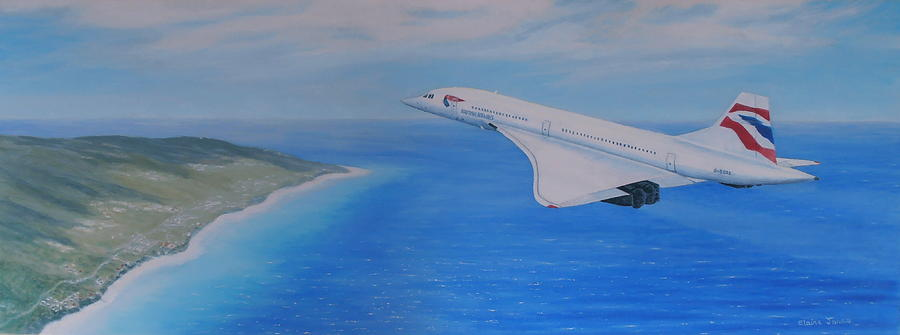 Concorde Over Barbados Painting