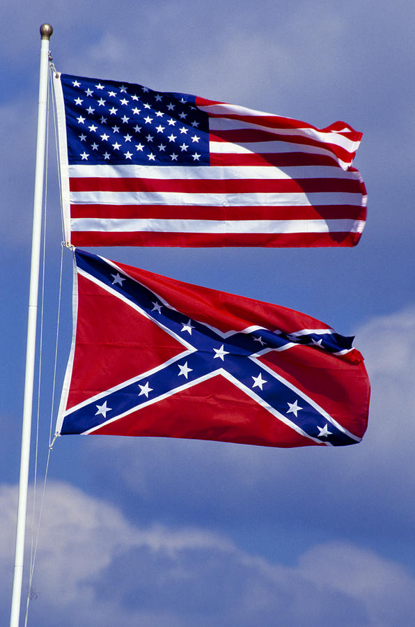 Confederate And U.s. Flags. Photograph  - Confederate And U.s. Flags. Fine Art Print