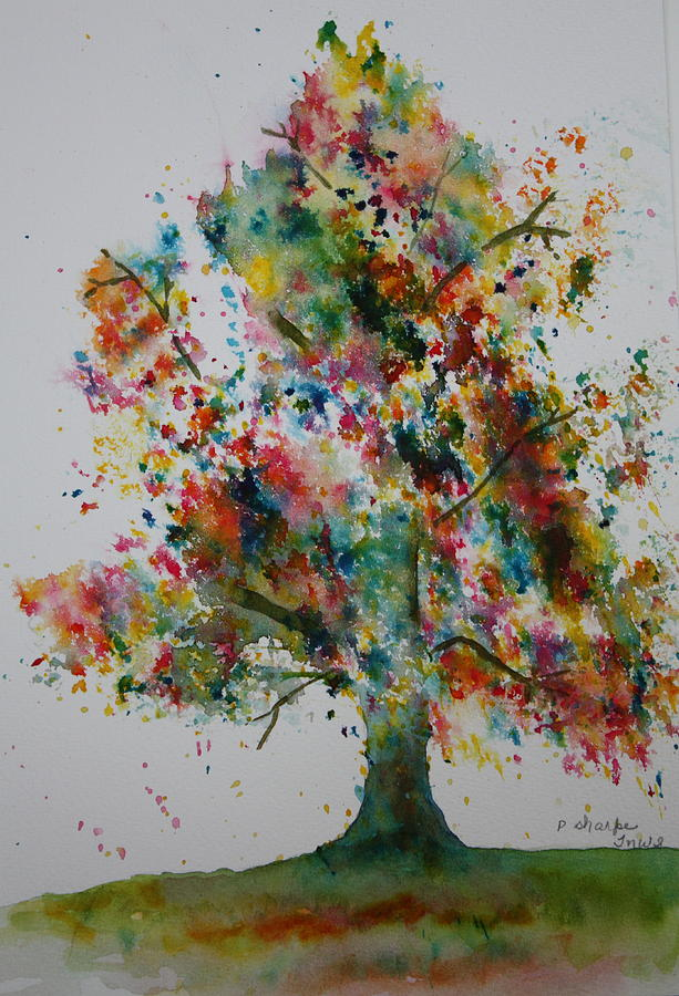 Landscape Painting - Confetti Tree by Patsy Sharpe