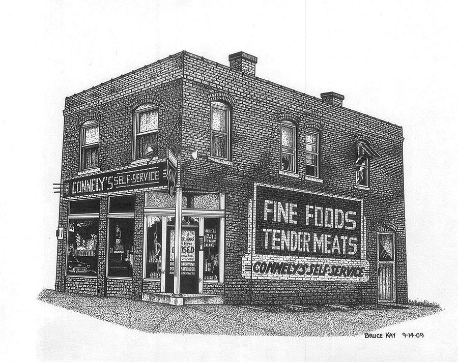 Connelys Market Drawing  - Connelys Market Fine Art Print
