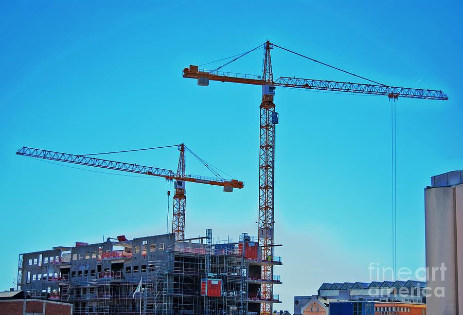 construction cranes HDR Photograph  - construction cranes HDR Fine Art Print