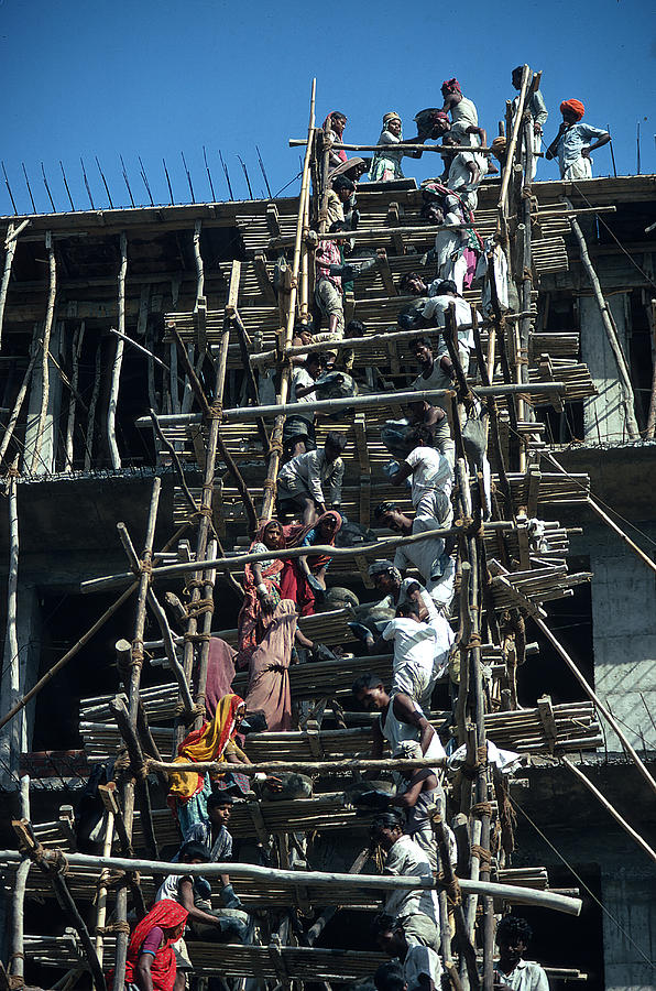 Men Photograph - Construction Site In India by Carl Purcell
