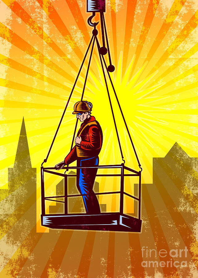 Construction Worker Platform Retro Poster Digital Art