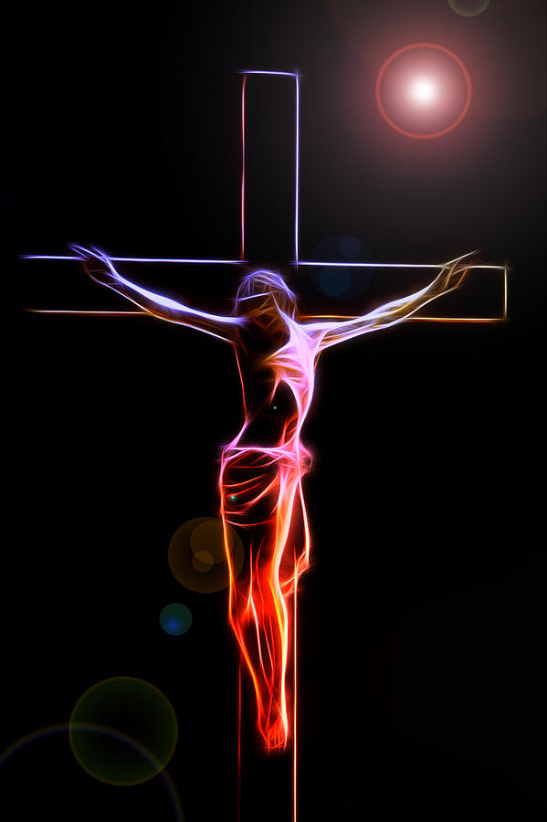 Crucified Jesus Life Faith Believe Christian  Church Cross Forgiveness Resurrection Bible Eternity Glow Glowing Abstract Digital Painting Expressionism Impressionism Sin Father Holy Spirit God Maria Stigmata Crown Thorn Thorns Suffering Death Consummatum Est Digital Art - Consummatum Est by Stefan Kuhn