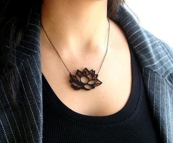 Contemporary Lotus Flower Necklace Jewelry