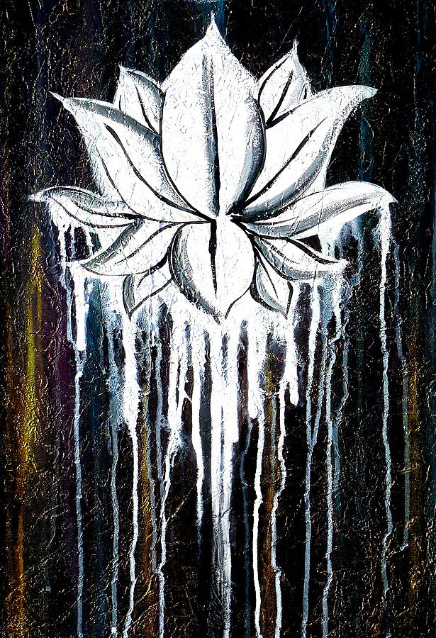 Textured Art Painting - Contemporary Lotus Flower Painting by Holly ...