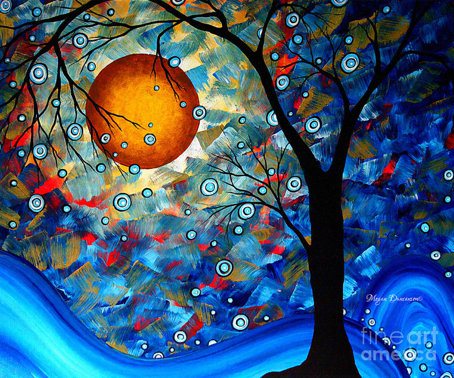 Contemporary Modern Art Original Abstract Landscape Painting Blue Essence By Megan Duncanson