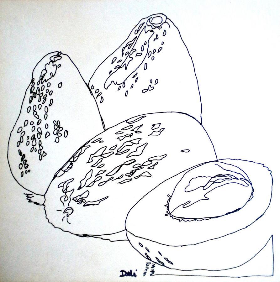 Contour Line Drawing Fruit : Contour line avocados by debi starr