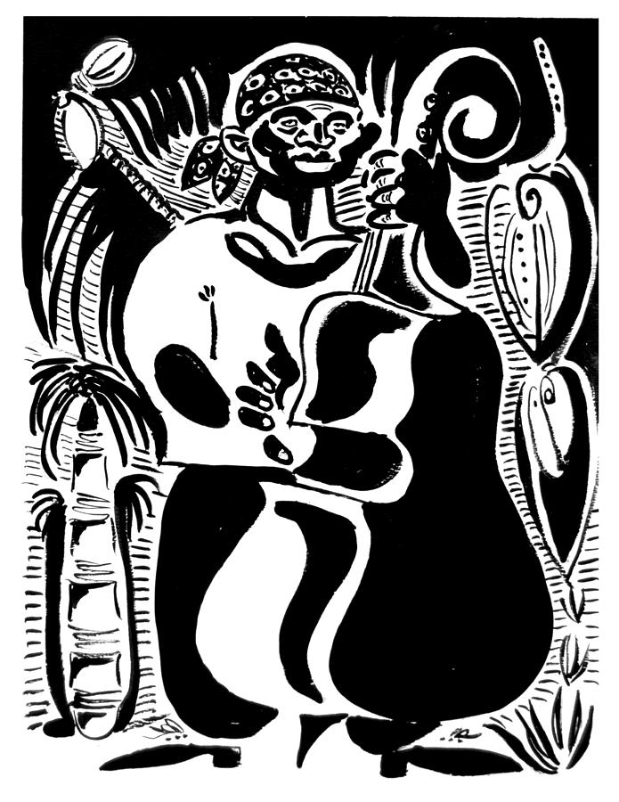 Cuba Music Dance Contra Bass Upright Bass Vaskovsky Vadim Art Print Ink Paper Watercolour Black White Carib Bandana Palm South Lino Cut  Drawing - Contrabass by Vadim Vaskovsky