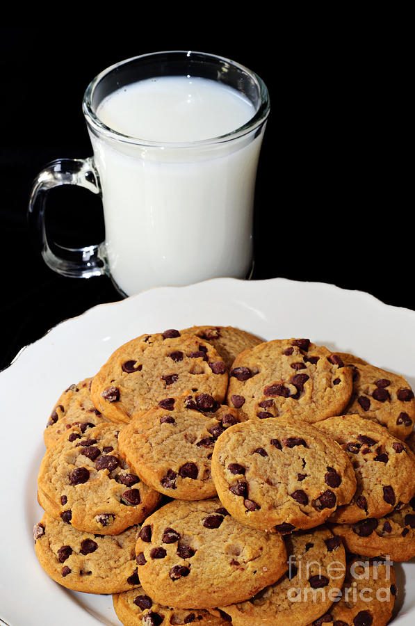 Cookies - Milk - Chocolate Chip - Baker Photograph  - Cookies - Milk - Chocolate Chip - Baker Fine Art Print