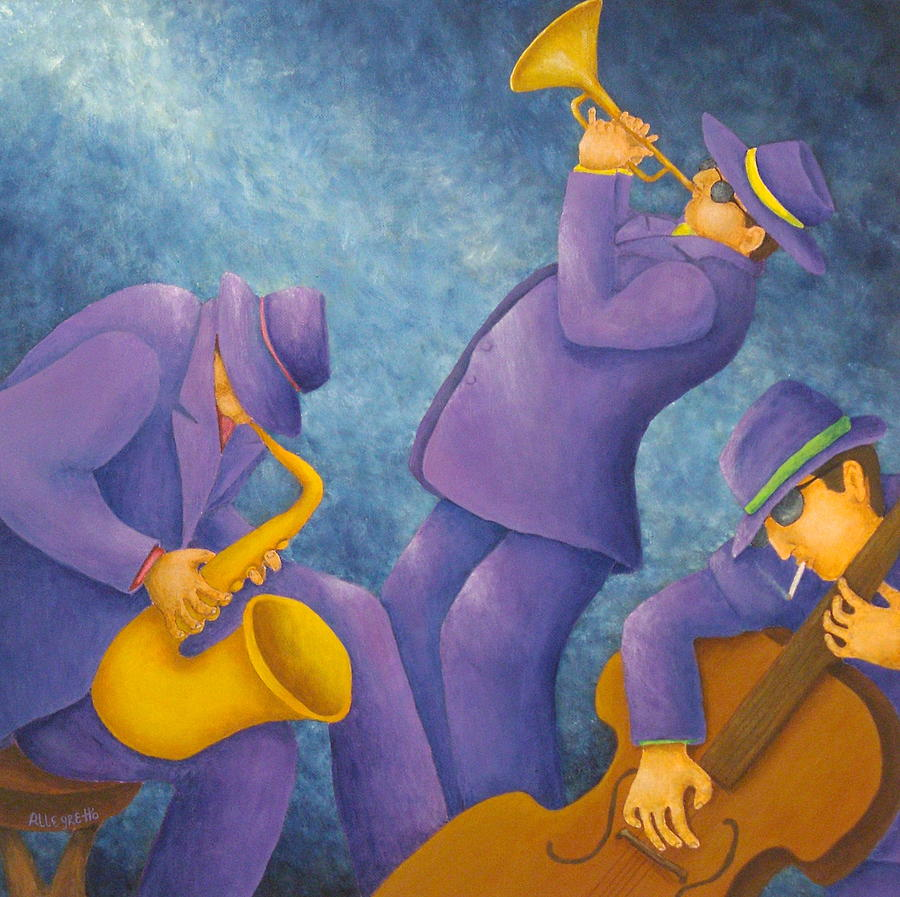 Cool Jazz Trio Painting  - Cool Jazz Trio Fine Art Print