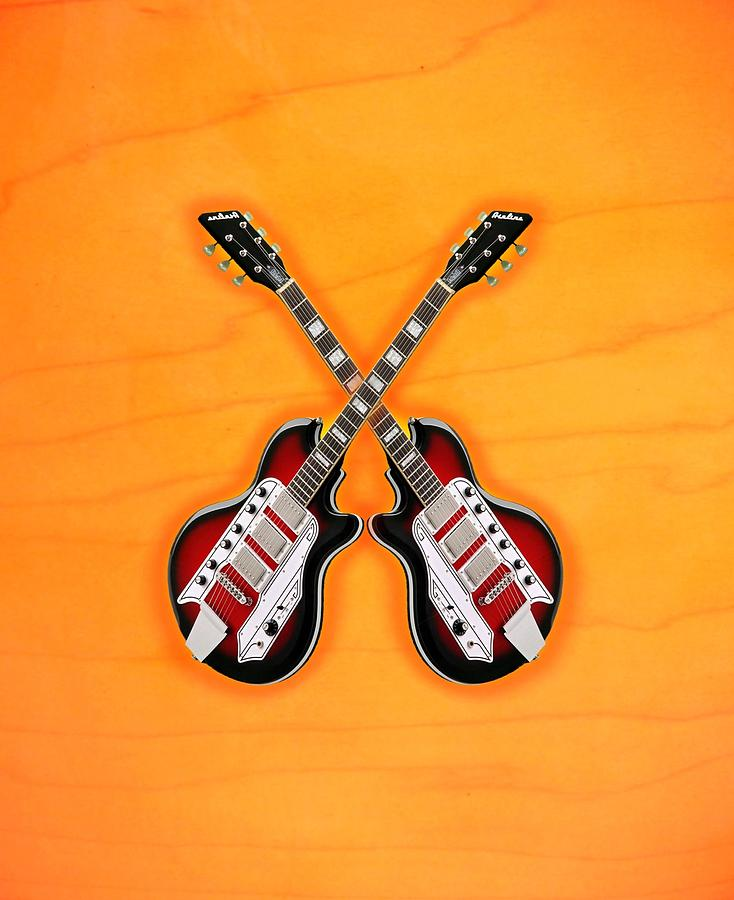 Cool Vintage Guitar Digital Art  - Cool Vintage Guitar Fine Art Print