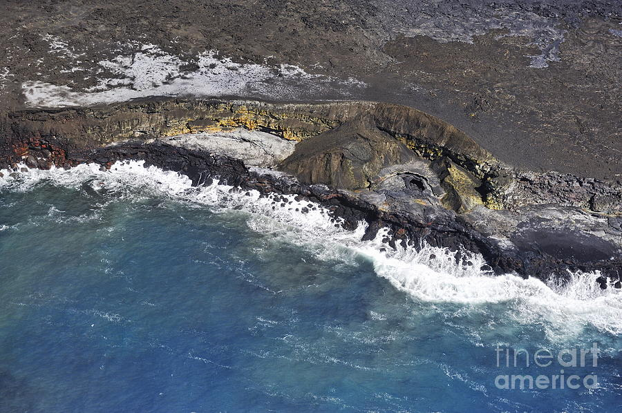 Cooled Lava Fields By Pacific Ocean Photograph