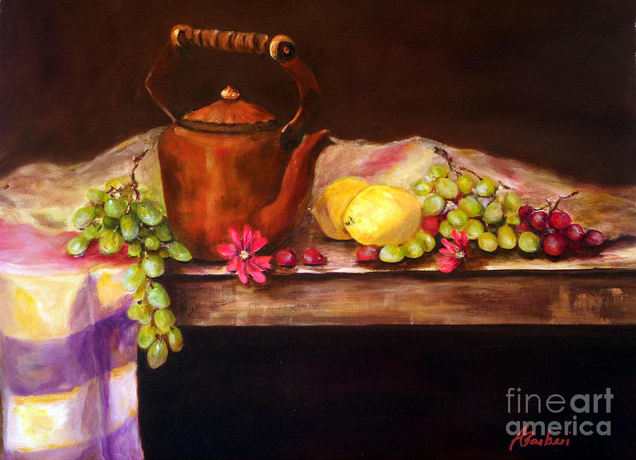 Copper And Fruit Painting  - Copper And Fruit Fine Art Print