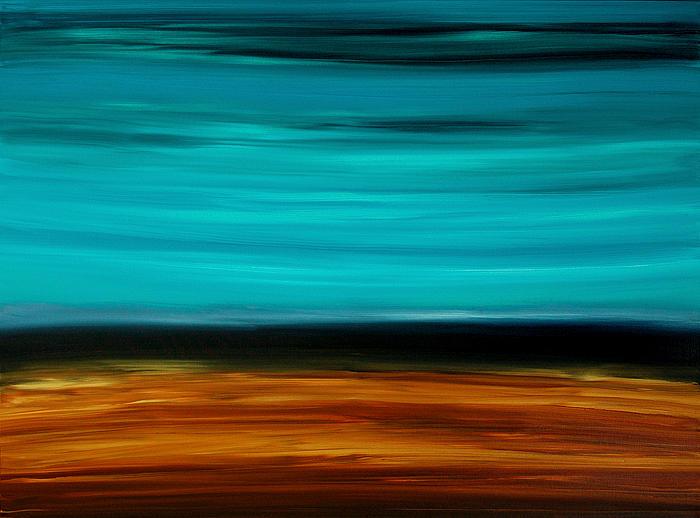 Copper Lake - Aqua Brown Black Painting Painting