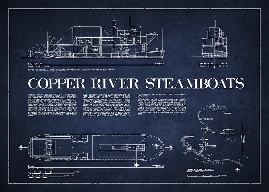 Copper River Steamboats Blueprint Drawing
